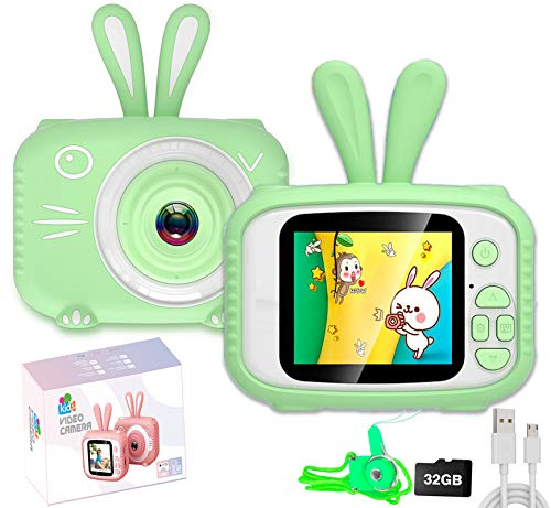 Kids Digital Camera, Kids Video Camera Recorder Shockproof Cameras HD 8 Mega Pixel 2 Inch IPS Screen Kids Mini Camera with 32GB SD for Girls Boys Gifts(Green)