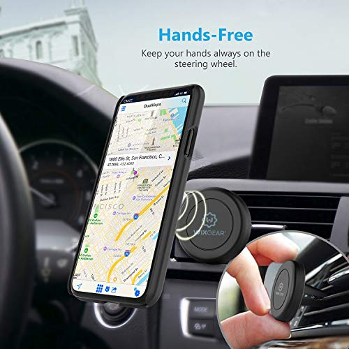 Magnetic Phone Mount, WixGear [2 Pack] Universal Air Vent Magnetic Phone Car Mount Phone Holder, for Cell Phones and Mini Tablets with 4 Metal Plates