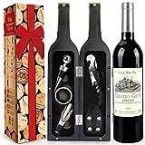 RERXN Weinflasche geformt Weinzubehör Geschenkset,Weinöffner Set Beinhaltet Weinkorkenzieher,Weinverschlüsse,Weinausgießer (Bottle 06)
