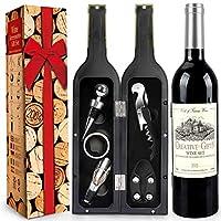 rerxn set di accessori da vino a forma di bottiglia di vino,accessori per il vino include cavatappi,tappo per vino,versatore per vino (bottle 06)