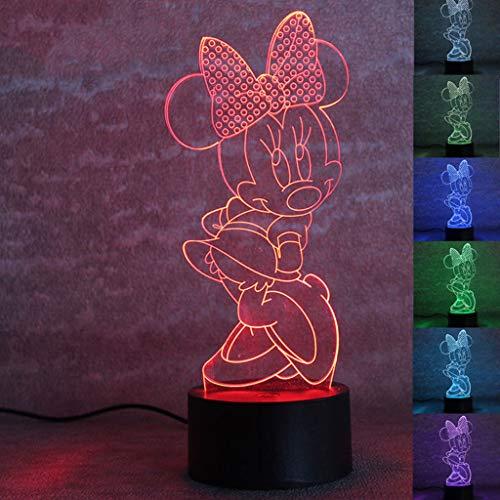 Minnie 3D Veilleuse, Lampe De Table De Lecture À LED, Veilleuse De Table Décorative, Télécommande Tactile / 7 Couleurs, Convient Aux Veilleuses De Cadeaux Pour Enfants (edition : Colorful touch)