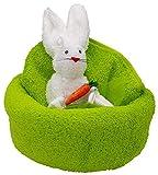 Frotteebox Geschenk Set Hase im Nest in Handarbeit geformt aus 1x Handtuch grün (100x50cm) und 1x Waschhandschuh weiß