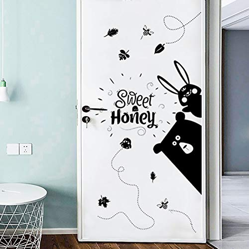 TAOYUE Cartoon Dieren Muurstickers Zwart Decoratieve Stickers Kids Kamer Home Decor Muurstickers Art Design Deur Sticker