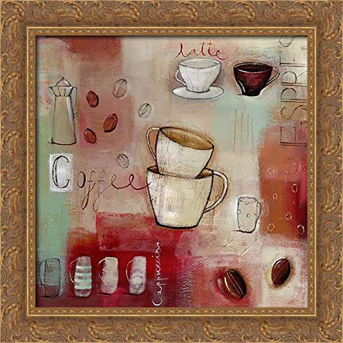 A.V. Art 21x20 Gold Ornate Framed Canvas Art Print Titled: Cappuccino and Beans
