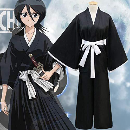 PAOFU Anime Bleach Shinigami Kimono Kostüm,Hitsugaya Toushirou Kuchiki Rukia Cosplay Japanisches Traditionelles Schwarzes Kimono-Bademantel Halloween Kostüm,Schwarz,M