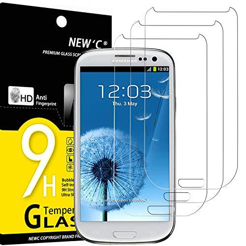 NEW'C 3 Pezzi, Vetro Temperato Compatibile con Samsung Galaxy S3, Pellicola Prottetiva Anti Graffio, Anti-Impronte, Durezza 9H, 0,33mm Ultra Trasparente, Ultra Resistente