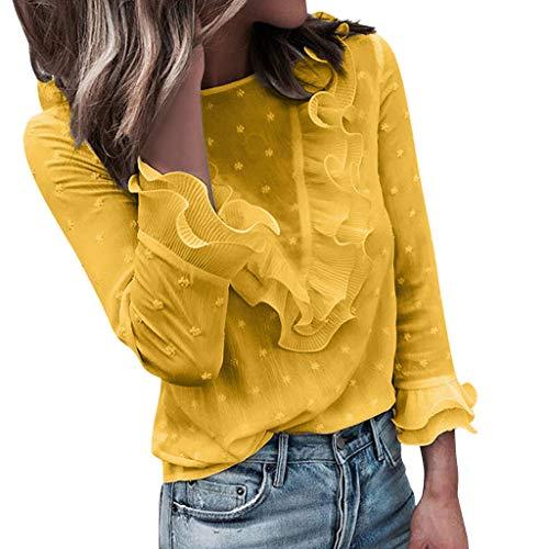 SHOBDW Camiseta sin Mangas con Cuello en V Floja para Mujer Camiseta Tops con Capucha Camiseta de Manga Larga otoñal del Invierno(Verde,XL)