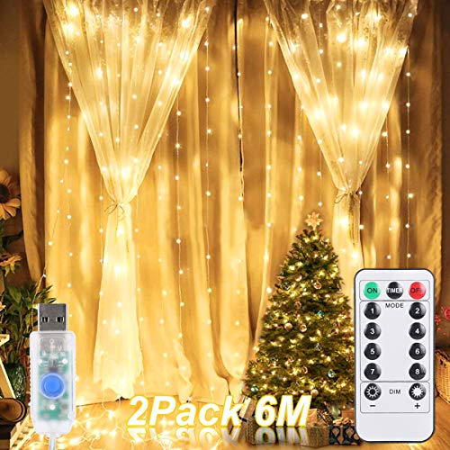 Cortina de Luces LED, ALED LIGHT 2 Pack 600 (2x300) LED 3mx3m Luces de Cadena de Cortina 8 Modos USB Luces de Hadas LED Luz de Navidad al Aire Libre a Prueba de Agua para Decoración de Dormitorio