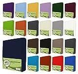 leevitex Drap housse en jersey 100% coton dans diverses tailles et couleurs-Conforme à la qualité Oeko-Tex Standard 100, 100 % coton, Bleu marine, 90x200 - 100x200 cm