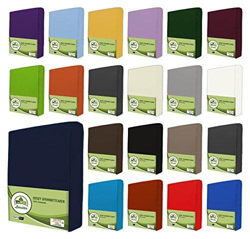 leevitex® Jersey Spannbettlaken, Spannbetttuch 100% Baumwolle in vielen Größen und Farben MARKENQUALITÄT ÖKOTEX Standard 100 | 180 x 200 cm - 200 x 200 cm - Navy blau