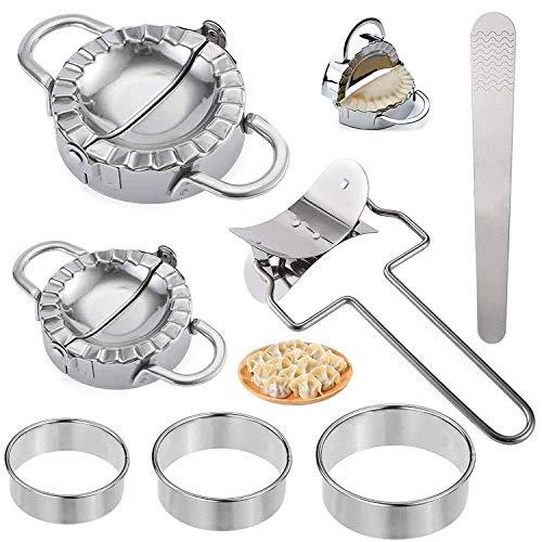 Boulette Maker et Ravioli Machine, 7 Pièces Dumpling Moule, Acier Inoxydable Boulette Maker, Ravioli Cutter, Moule à Dumplings Tarte Outil Accessoires de Cuisine