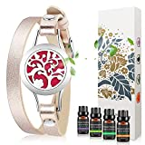 Jack & Rose Essential Oil Diffuser Bracelet,Stainless Steel Aromatherapy Locket Bracelets Leather Band with 8 Color Pads,Girls Jewelry Gift Set