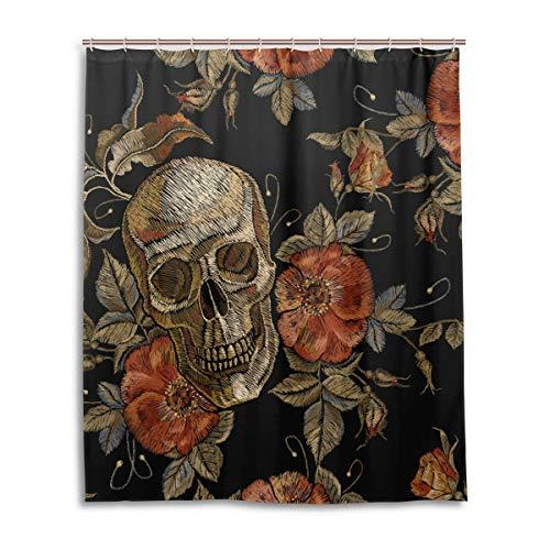 Mr.Lucien Halloween Skull Flowers Shower Curtain Gothic Pattern Bathroom Shower Curtain for Girl Boy Custom Waterproof Fabric Decor with 12 Hooks Set 60 x 72 inch 2020131