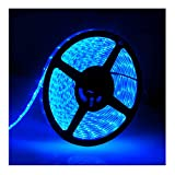 IP65, 12V Waterproof Flexible LED Strip Light(Power Cord not Included), 16.4ft/5m Cuttable LED Light Strips, 300 Units 3528 LEDs Lighting String, LED Tape(Blue) Power Adapter not Included