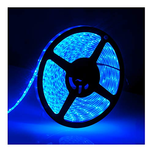 Price comparison product image IP65,  12V Waterproof Flexible LED Strip LightPower Cord not Included,  16.4ft / 5m Cuttable LED Light Strips,  300 Units 3528 LEDs Lighting String,  LED Tape(Blue) Power Adapter not Included