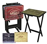 Cape Craftsman Wine Label TV Trays with Stand, Set of 4