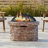 John Timberland Breckenridge 26' W Faux Stone Wood Burning Outdoor Fire Pit
