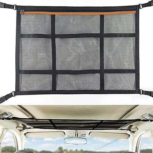 Red Almacenamiento Universal para Techo de Coche, 90 x 65 cm Organizador Bolsa de Red de Carga con Cremallera, Soporte Bolsa de Almacenamiento de Viaje Largo para Jeep Van SUV, Negro