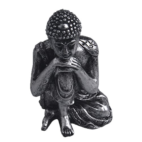 Indian Buddha Statue of Meditation Resting Sculpture Hand-Painted Figurine-Silver