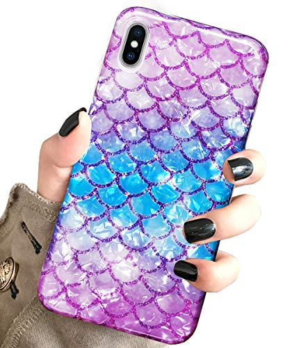 J.west iPhone Xs Max Case Luxury Sparkle Bling Translucent Cute Mermaid Scale Print Soft Silicone Phone Cover for Girls Women Slim Fashion Pattern Design Protective Case for Apple iPhone Xs Max 6.5