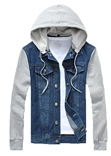 QZUnique Men's Plus Big and Tall Denim Jacket Detachable Hoody Coat Dark Blue US 2XL/Asian 5XL
