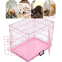 """Folding Dog Cage 20'' 24"""" 30"""" 36"""" Metal Folding Puppy Crate Cat Pet Carrier with Tray for Training Transport Traveling Carriers Black Blue Pink"""