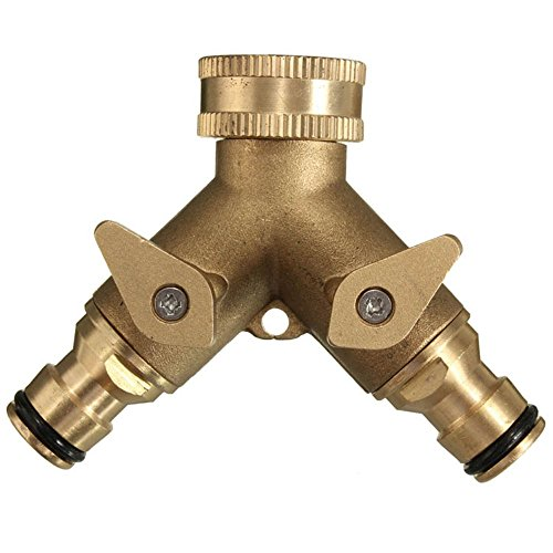 kungfu Mall 3/4 Inch 2 Way Splitter Brass Water Hose Tap Quick Connector...