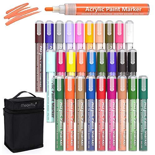 Magicfly 28 Farben Acrylstifte Marker Stifte mit Tasche Bag für DIY Steine Bemalen, Leinwand,Metall, Holz, Glasmalerei, Papier, Keramik, Rock, Basteln