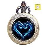 YISUYA Taschenuhr Retro Kingdom Heart Pattern Kleine Taschenuhr mit Knopfbatterie und Kette Analoguhr Geschenk für Männer