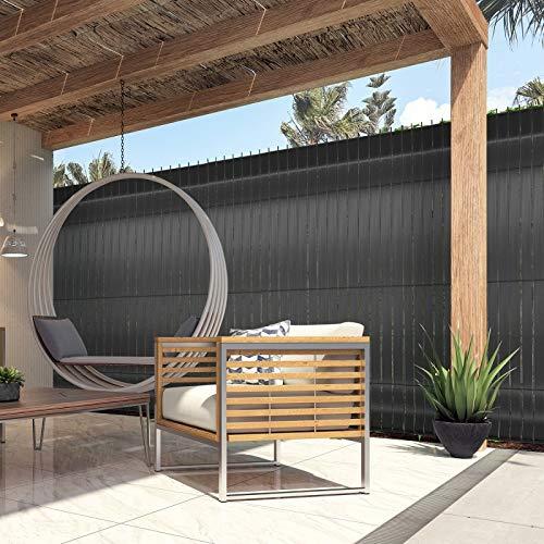 IDMarket – Kit de láminas opacas de PVC gris L.60 m para panel de rejilla: Amazon.es: Jardín