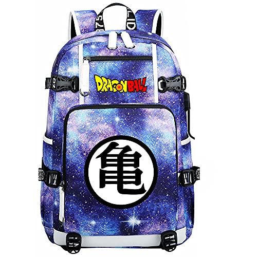 ZZGOO-LL Dragon Ball Mochilas de Anime Mochila Escolar para Estudiantes Mochila para portátil con Puerto de Carga USB-C