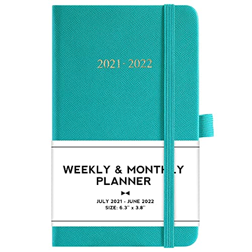 2021-2022 Pocket Planner - July 2021 to June 2022, Academic Weekly & Monthly Pocket Planner, 6.3''×3.8'', Academic Planner with Pen Loop, Elastic Bound, Bookmark and Inner Pocket