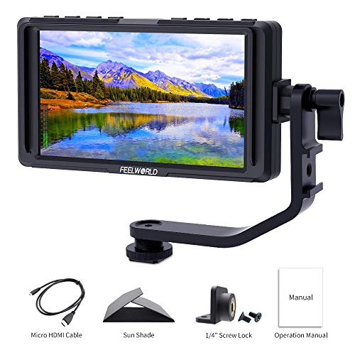 Feelworld F5 5 Pollici On Camera Field Monitor DSLR Small Full HD 1920x1080 IPS Video Peaking Focus Assist con 4K HDMI 8.4V DC Input Output Includono Tilt Arm