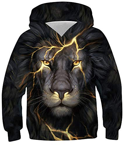Loveternal Löwe Kapuzenpullover 13-16 Jahre 3D Hoodie Lion Langarm Sweatshirt Poullover für Frauen Männer mit Kordelzug 3XL