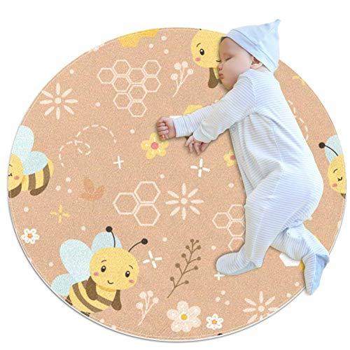 Z&Q Yellow Bee Flower Round mat Non-slip machine washable soft carpet game mat living room bedroom study floor mat 39.4x39.4IN