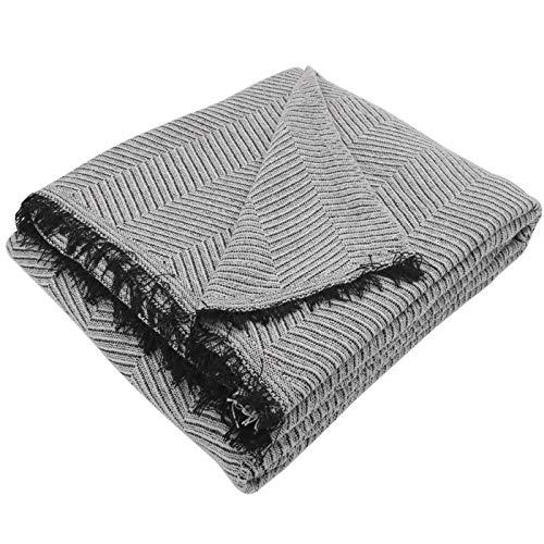 MERCURY TEXTIL- Colcha Multiusos Sofa,Manta Foulard,Plaid para Cama,Cubresofa Cubrecama,jarapas,Comoda Practica y Suave. Poliester Algodón (230 x 260cm, Espiga Gris Negro)
