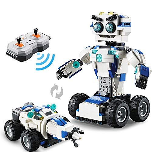 PETRIP Building Block Robot STEM Toys, Robot for Kids 2-in-1 DIY Building Science Educational Electronics Kit Remote Control Robot Toys for Kids Aged 6-10+