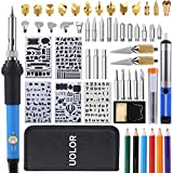 Uolor 45 Pcs Wood Burning Kit, Pyrography Wood Burner Set with Adjustable Temperature Woodburning Pen, Embossing/Carving/Soldering Tips, 4 Stencils, 2 Pencils, Stand and Carrying Case