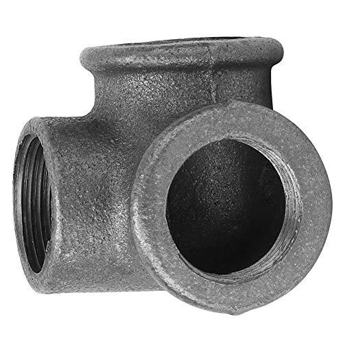 Fafeicy 5 piezas de conexión de tubería, codo de salida lateral DEG 90 ° conector de conexión de tubería de hierro maleable negro para instalación de tubería de agua(DN15(1/2))