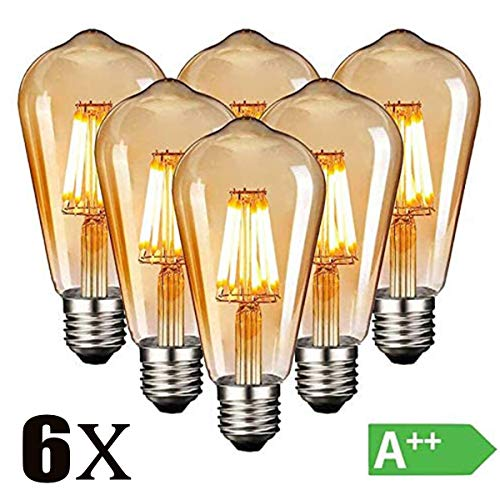 Edison Vintage Glühbirne, E27 4W Edison LED Lampe Warmweiß Retro Glühbirne Vintage Antike Glühbirne Ideal für Nostalgie und Retro Beleuchtung im Haus Café Bar usw - 6 Stück [Energieklasse A++]