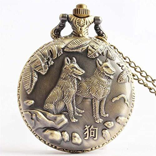 WDDYYBF Vintage zakhorloge voor dames en heren met hanger halsketting Zodiac hond brons sleutelhanger pullover ketting riem sieraad kwartshorloge zakhorloge