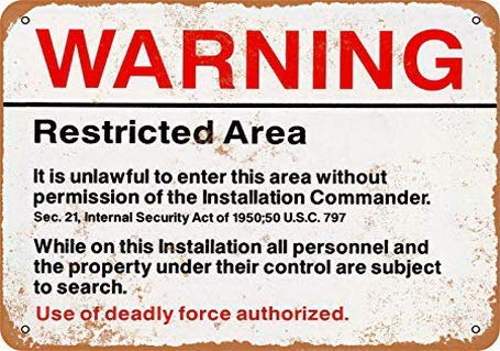 9Ginkgo& Wall-Color 8 x 12 INCH Metal Sign - Warning Restricted Military Area 51 - Vintage Look Reproduction Metal Tin Sign