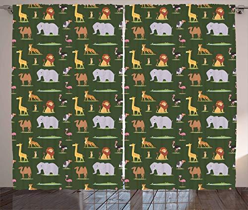 ABAKUHAUS Afrika Rustikaler Gardine, Leopard Elefant Kamel, Schlafzimmer Kräuselband Vorhang mit Schlaufen und Haken, 280 x 260 cm, Mehrfarbig