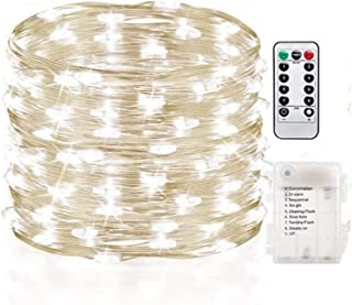 Gluckluz String Lights Indoor Bedroom Fairy Battery Operated 200 LED Lighting Copper Wire with Remote Control Waterproof f...