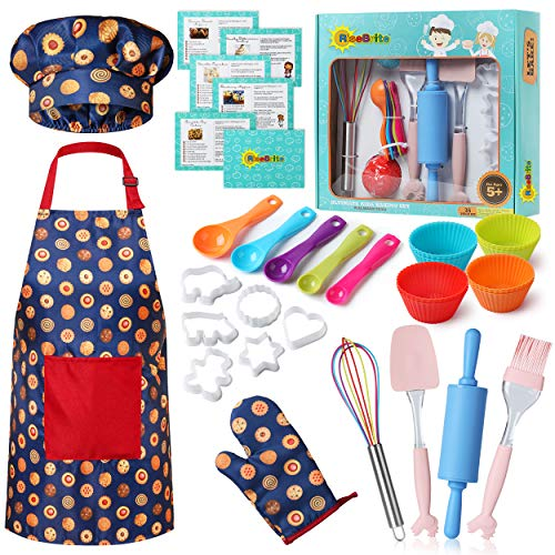 RISEBRITE Real Kids Baking Set for Girls and Boys – 35 Pcs Gift Set Includes Kids Apron, Chef Hat, Oven Mitt, Real Baking Tools and Recipes for The Curious Young Junior Chef (Blue Cookies)