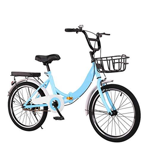 20in/22in/24in Folding Commuter Bike Bicycle, Single-speed Shifting Dual-brake Bikes, Mountain Bike Gear Steel Frame Fender Rear Frame, Anti-skid Wear-resistant Tires ( Color : Blue , Size : 22 in )