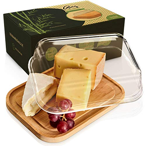 bambuswald© Caja de embutidos de cristal y tapa de bambú 100%, 20x15x6cm | Fiambrera de nevera para embutidos y quesos | Fiambrera de embutidos, táper de quesos, tupperware, plato de servir