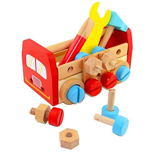 Doolland Kit de herramientas para llevar juguete de construcción de madera, 24 piezas