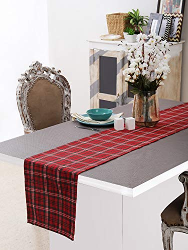 Neolino Christmas 100% Cotton Dining Table Runner of Size 13X72 Inches for Chritmas, Thanks Giving, Parties & Everyday Use- 1 Piece - Red & Green