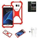 K-S-Trade® Handyhülle + Kopfhörer Für Hisense Rock Lite Schutzhülle Bumper Silikon Schutz Hülle Cover Case Silikoncase Silikonbumper TPU Softcase Smartphone, Rot (1x),